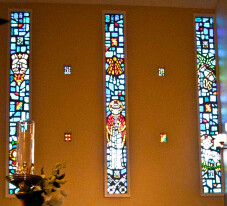 Stained glass windows at St. Bart's